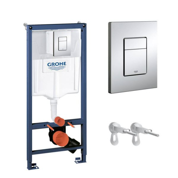 GROHE Rapid SL - set 3v1 pre závesné WC (nádrž+kotvenie + tlačítko Cosmopolitan chróm), 38772001