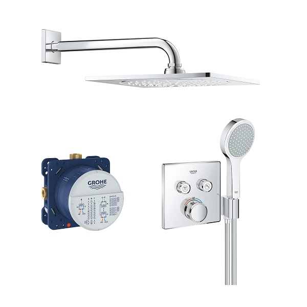GROHE sprchový set 5v1 Grohtherm SmartControl Perfect s hranatým podomietkovým termostatom a hlavovou sprchou  F-series 10