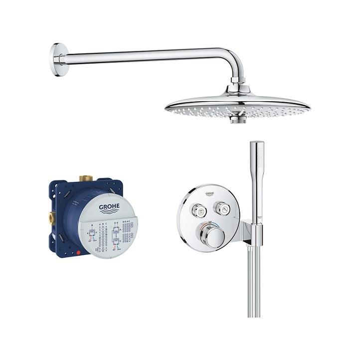 GROHE sprchový set 5v1 Grohtherm SmartControl Perfect s kruhovým podomietkovým termostatom a hlavovovou sprchou Euphoria 260 3-pol chróm 34744000