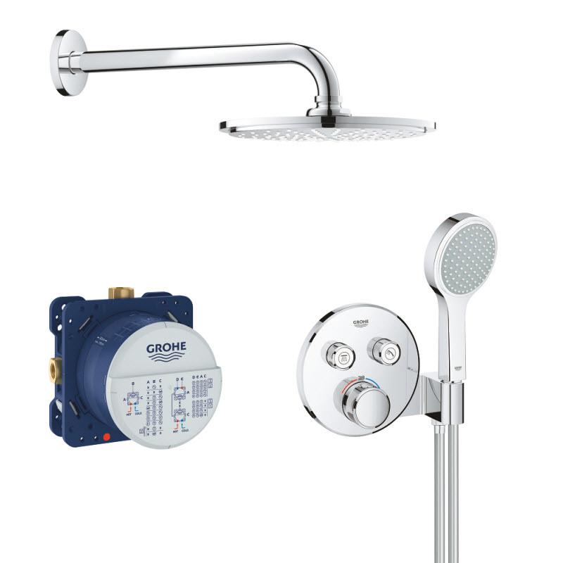 GROHE sprchový set 5v1 Grohtherm SmartControl Perfect s kruhovým podomietkovým termostatom a hlavovovou sprchou Rainshower Cosmopolitan 210 chróm 34743000