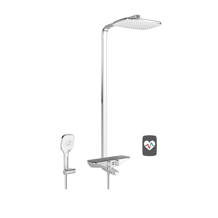 HANSA EMOTION Wellfit sprchový termostatický systém s hlavovou sprchou sivá chróm 5865217284