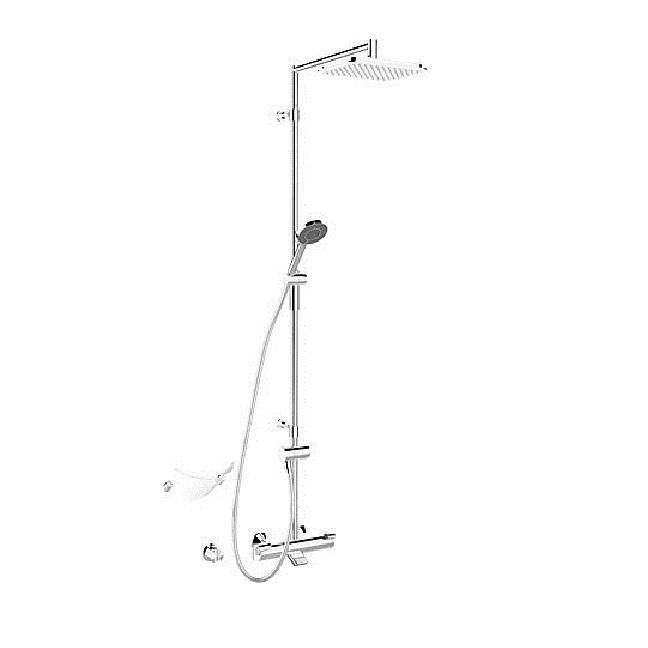 HANSA FIT vaňový systém s termostatickou batériou hlavovou sprchou a 3-polohovou ručnou sprchou 65162101