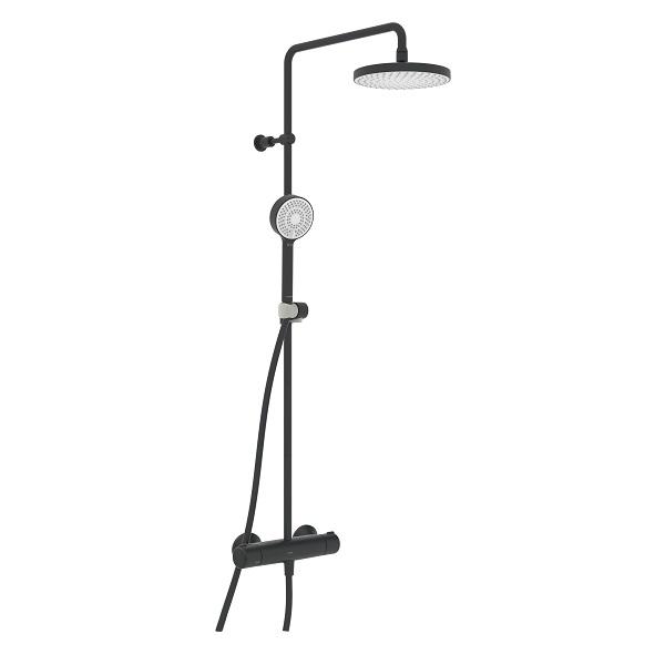 Hansa MICRA sprchový systém s hlavovou sprchou s termostatom na stenu chróm a 3-prúdovou ručnou sprchou, matná čierna 4435013033