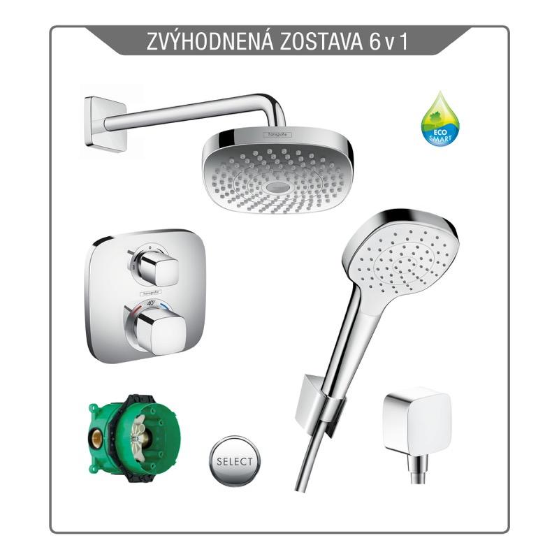 HANSGROHE CROMA Select E sprchový systém Ecostat E zostava s termostatom biela/chróm SET 6v1