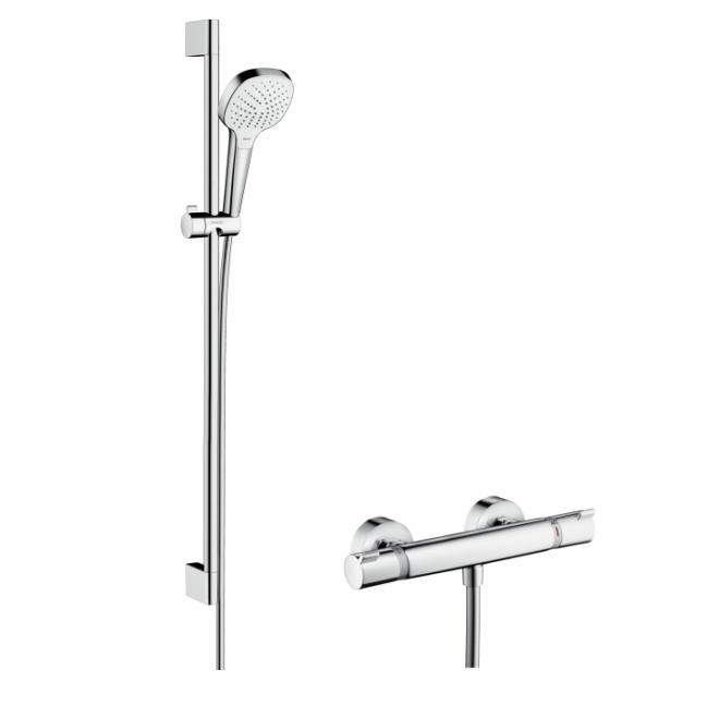Hansgrohe Croma Select E Vario sprchový set s termostatom Ecostat Comfort a tyčou 0,9m biela/chróm 27082400