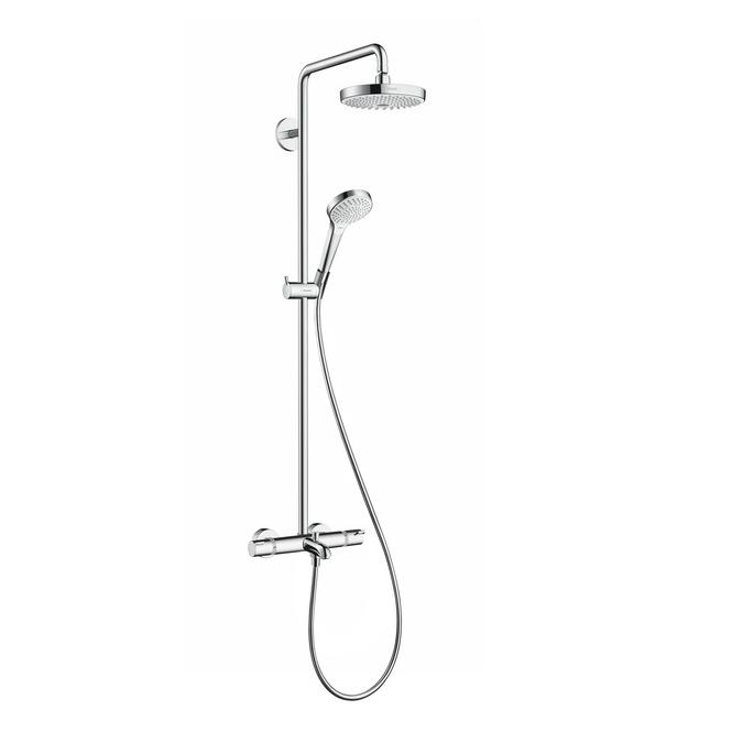 Hansgrohe Croma Select S sprchový systém Showerpipe 180 2jet s termostatom k vani biela/chróm, 27351400