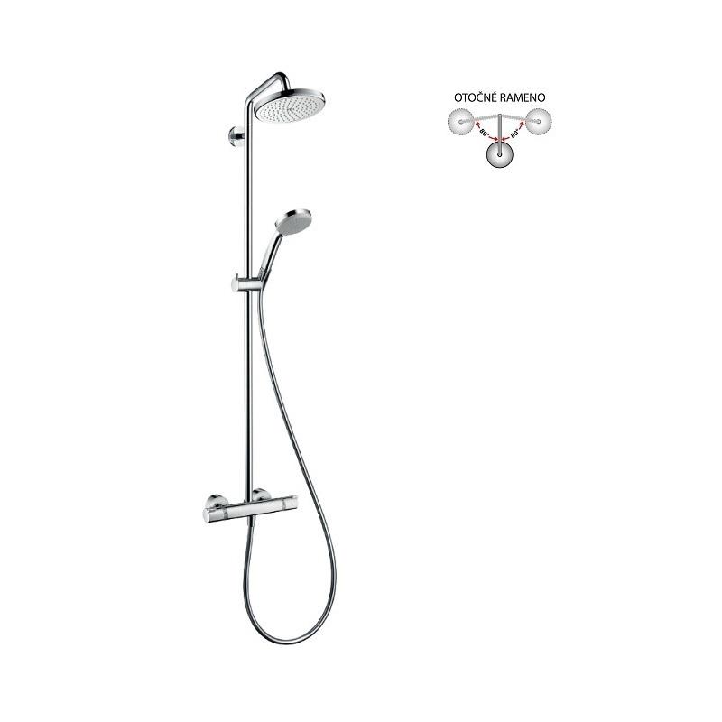 Hansgrohe Croma - sprchová súprava Showerpipe 220 s termostatom, 1 prúd, chróm 27185000