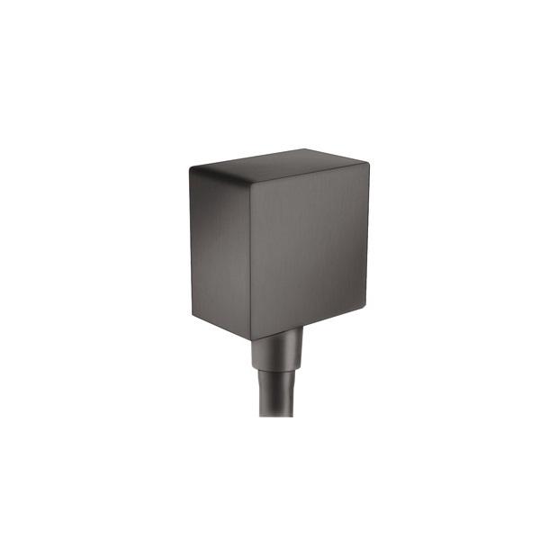 HANSGROHE Fixfit prípojka hadice Square so spätným ventilom kartáčovaný čierny chróm 26455340