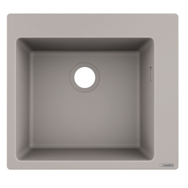 HANSGROHE granitový drez S510-F450 560 x 510mm jednodrez na dosku, SilicaTec betónová šedá, 43312380