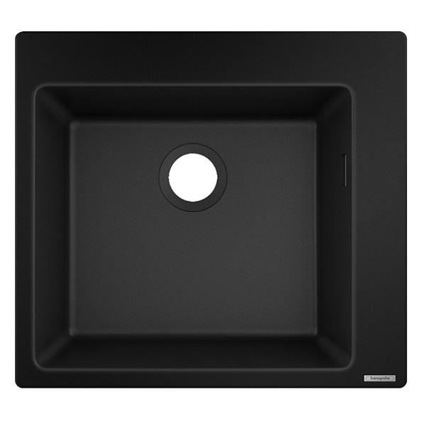 HANSGROHE granitový drez S510-F450 560 x 510mm jednodrez na dosku, SilicaTec grafitová čierna, 43312170