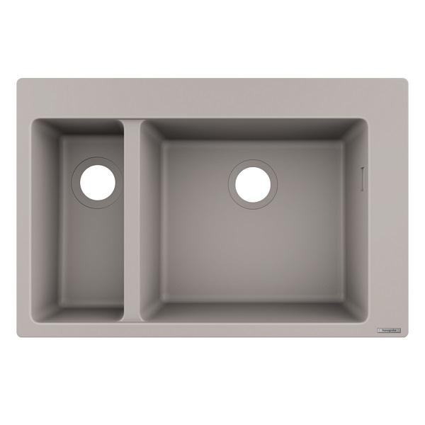 HANSGROHE granitový drez S510-F635 770 x 510mm jednodrez s vaničkou na dosku, SilicaTec betónová šedá, 43315380