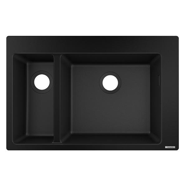 HANSGROHE granitový drez S510-F635 770 x 510mm jednodrez s vaničkou na dosku, SilicaTec grafitová čierna, 43315170