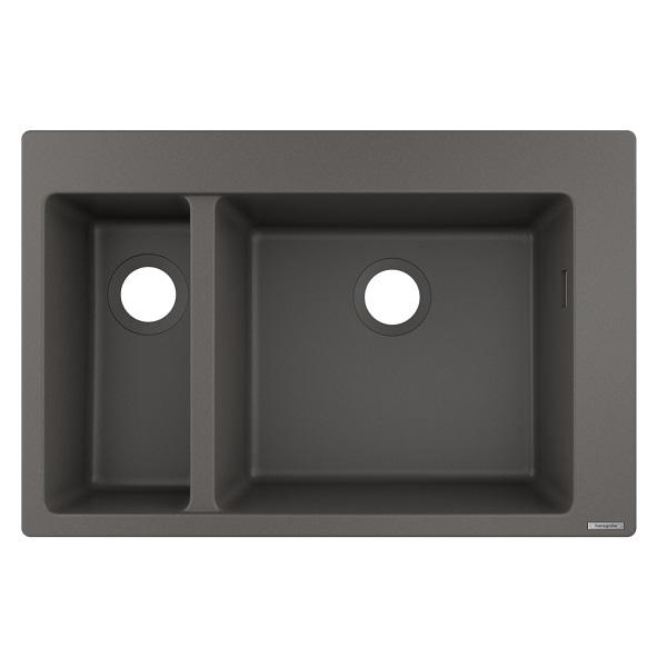 HANSGROHE granitový drez S510-F635 770 x 510mm jednodrez s vaničkou na dosku, SilicaTec kamenná šedá, 43315290