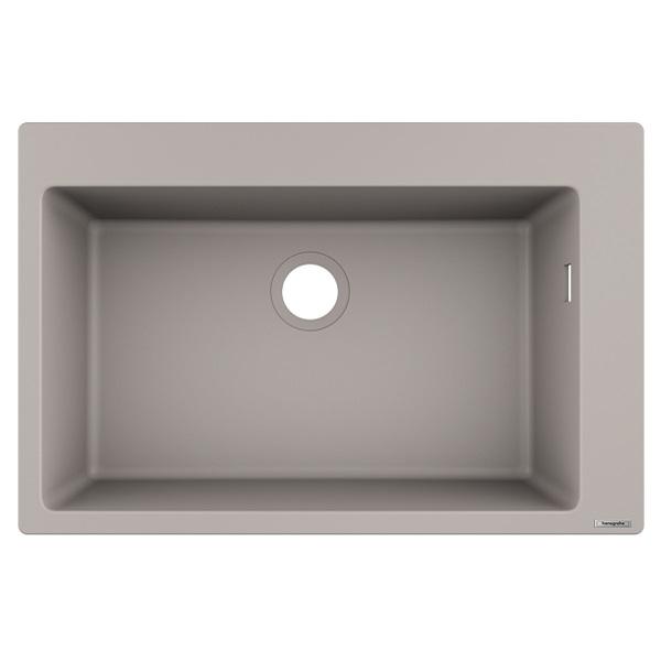 HANSGROHE granitový drez S510-F660 770 x 510mm jednodrez SilicaTec betónová šedá, 43313380
