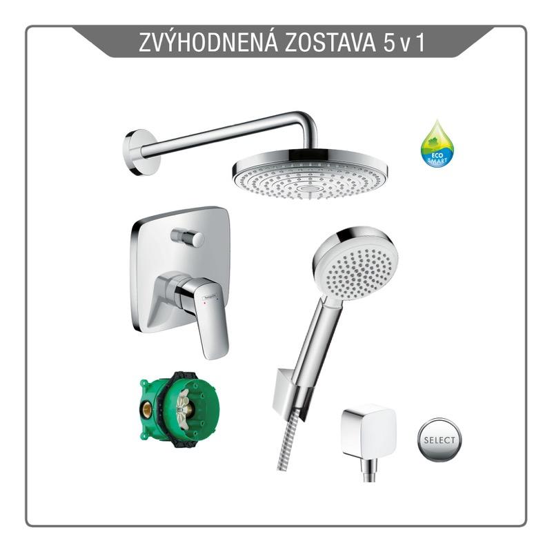 HANSGROHE Logis sprchový pákový set 5v1 s hlavovou a ručnou sprchou