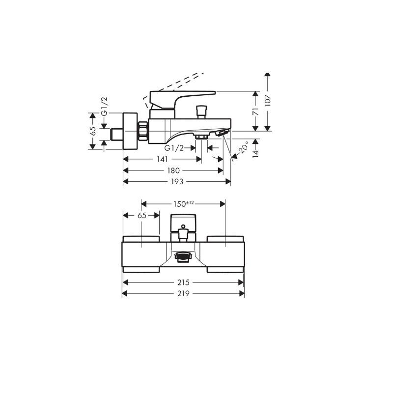 HANSGROHE Metropol vaňová nástenná batéria čierna matná 32540670