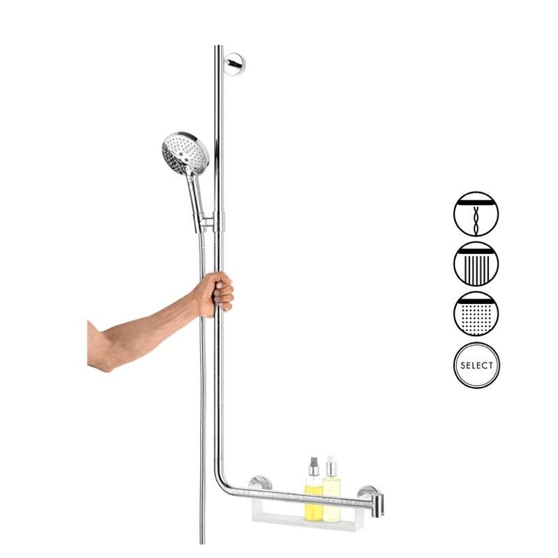 HANSGROHE PowderRain sprchový SET3v1  s madlom, mydelničkou , 3-polhovou sprchou a hadicou chróm