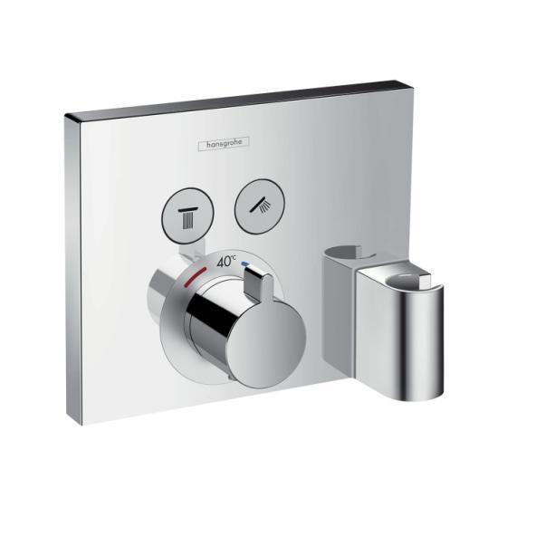 HANSGROHE ShowerSelect termostatická batéria pod omietku pre 2 spotrebiče s prípojom hadice FixFit a držiakom 15765000