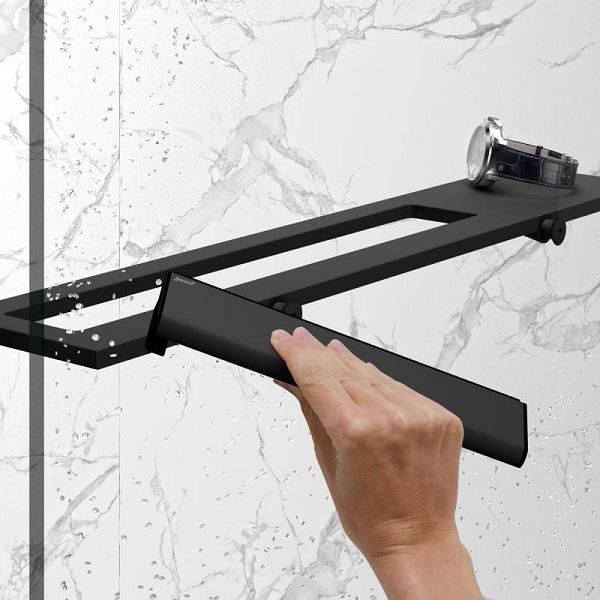 HÜPPE SELECT+ stierka s háčikom na zavesenie na sklo Black Edition