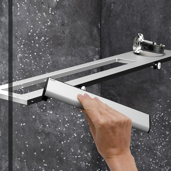 HÜPPE SELECT+ stierka s háčikom na zavesenie na sklo strieborná matná