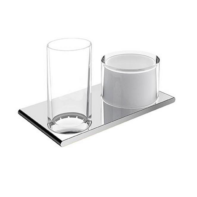 KEUCO Edition 400 dvojitý držiak pre dávkovač tekutého mydla a pohár 11553019000