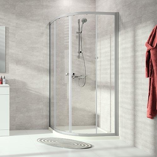 kút sprchový ALPHA 2 QTR 90 1/4-kruh posuv. dvere, rohový vstup R500 strieborná matná číre sklo AP