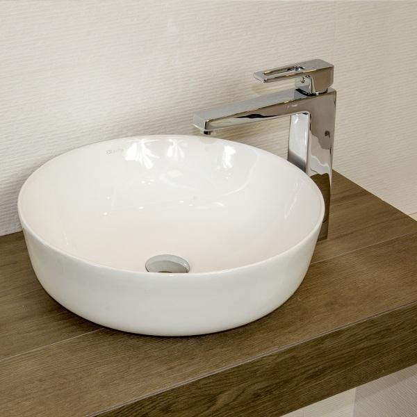 LAVITA CORDOBA - keramické  umývadlo na dosku miska kruhové 41,5 cm v Slim dizajne bez prepadu biele