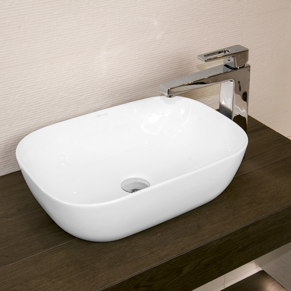 LAVITA COSTA - keramické  umývadlo na dosku miska 45,5 x 32,5 cm v Slim dizajne bez prepadu biela