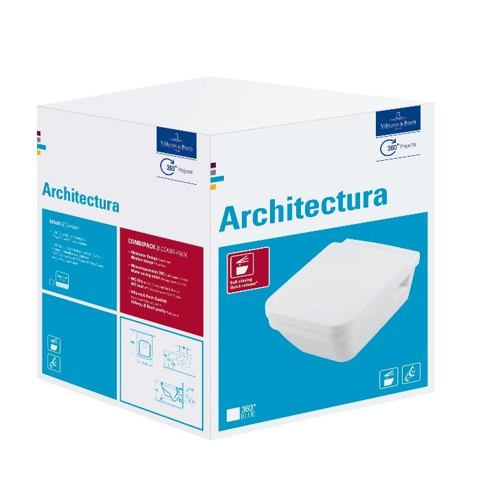 misa WC závesná ARCHITECTURA H 37 x 53 DirectFlush + sedátko SoftClose biela s C+ CombiPack