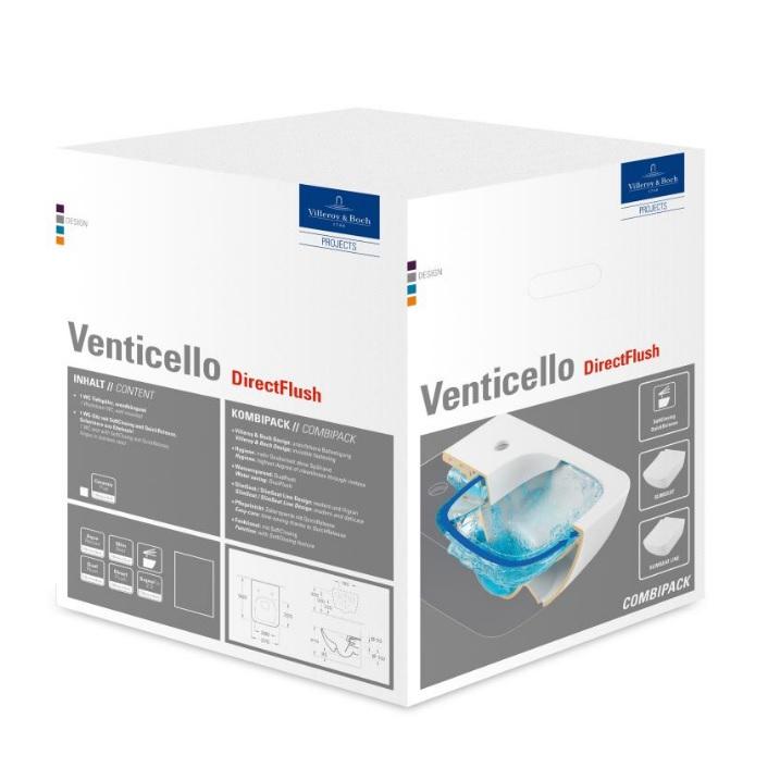 misa WC závesná VENTICELLO 37,5 x 56 DirectFlush + sedátko s poklopom SlimSeat Line so SoftClosing a QuickRelease biela