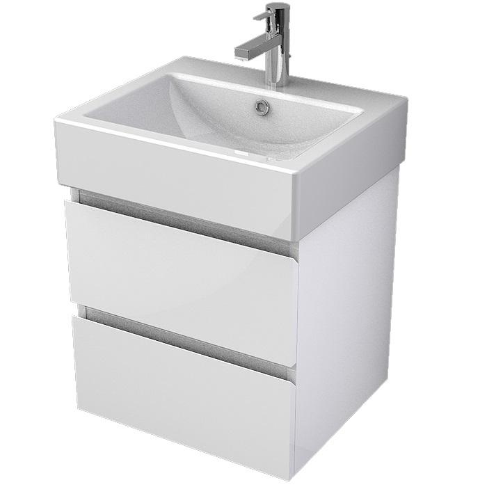 MYBATH MyVento set skrinka s umývadlom ORNE 50 cm 2-zásuvková  s 1-otvorom pre batériu, biela vysoký lesk
