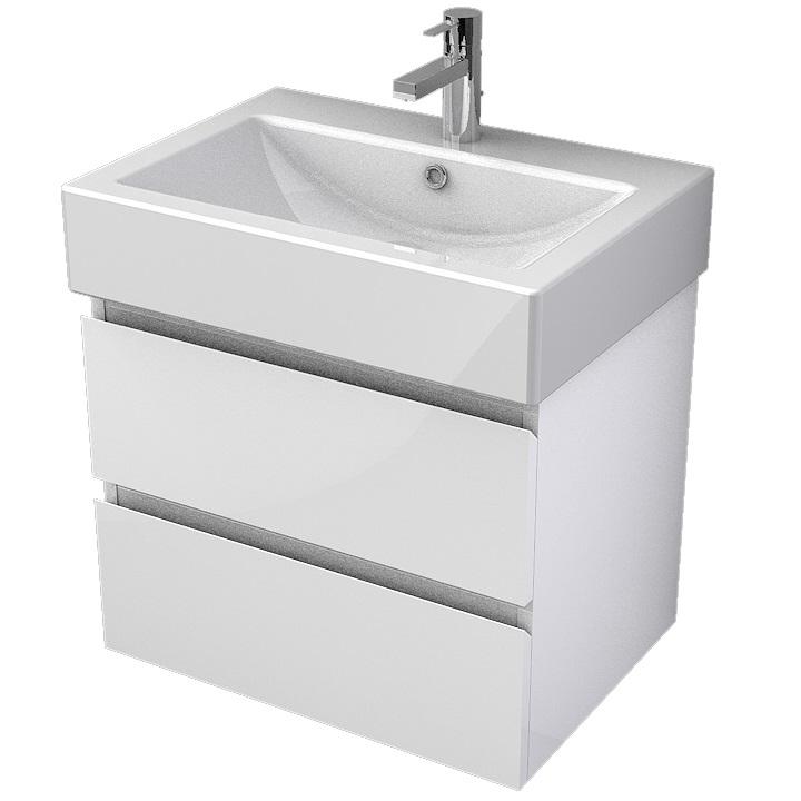MYBATH MyVento set skrinka s umývadlom ORNE 60 cm 2-zásuvková  s 1-otvorom na batériu, biela vysoký lesk