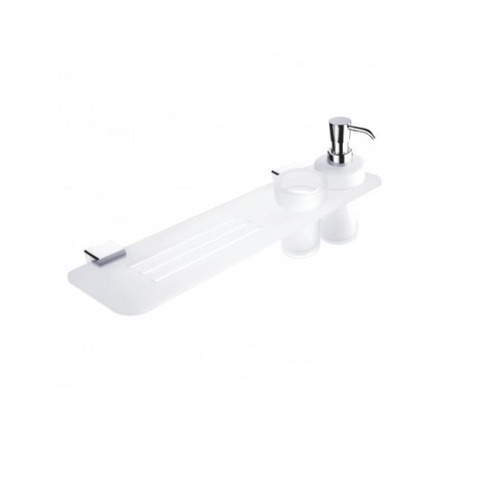 NIMCO Kibo 50 cm polička s dávkovačom mydla a pohárom KIX3505831W26