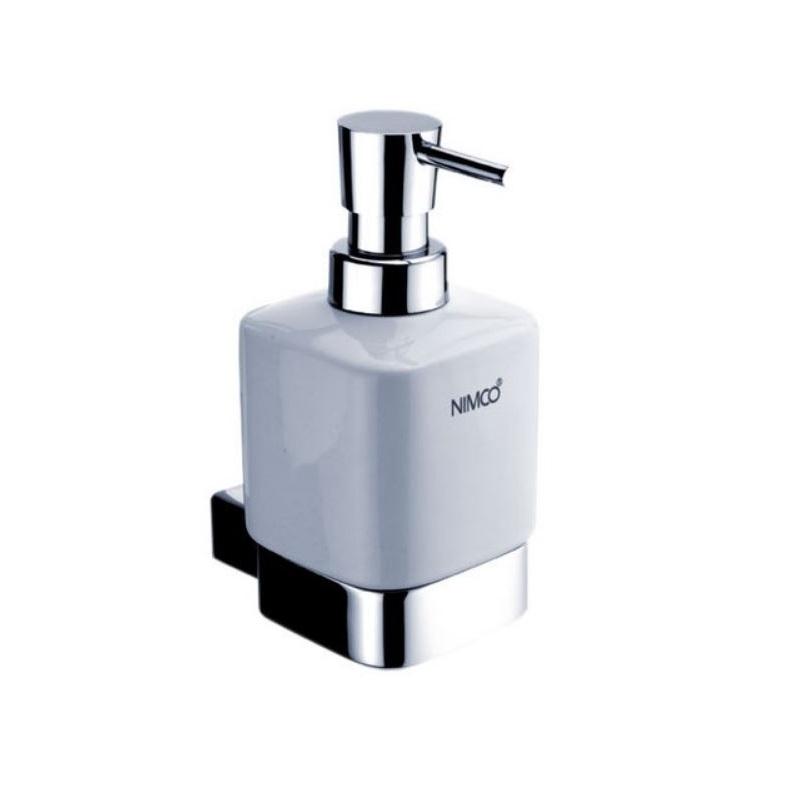 NIMCO KIBO dávkovač mydla nádobka keramická 250 ml biela, pumpička mosaz/chróm KI14031KT26