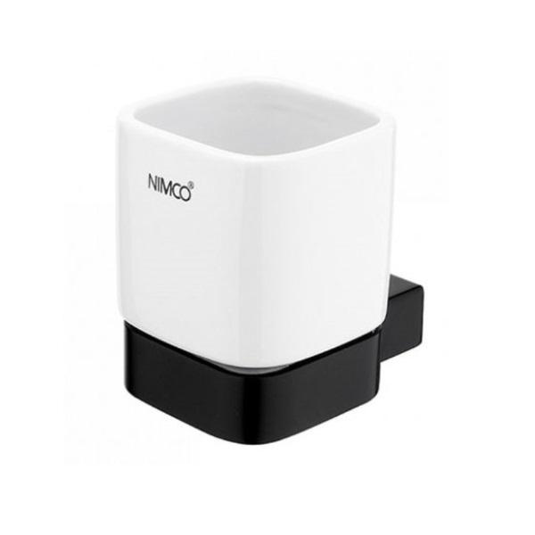 NIMCO KIBO pohár s držiakom keramický biela/čierna matná KI14058K90