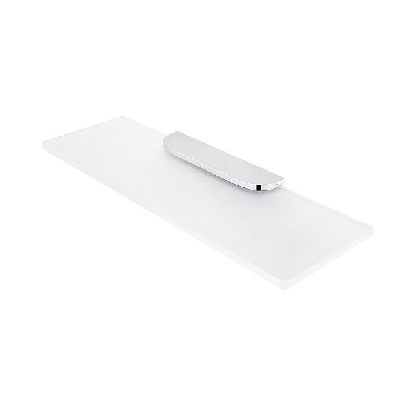 NIMCO NIKAU polička matné sklo 40 x 11 cm bez ohrádky, chrómový držiak NK30091B4026