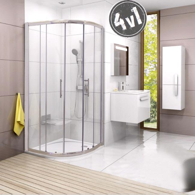 RAVAK Harrs SET 4v1 sprchový kút 90 1/4-kruh R550 + vanička+nohy+ sifón
