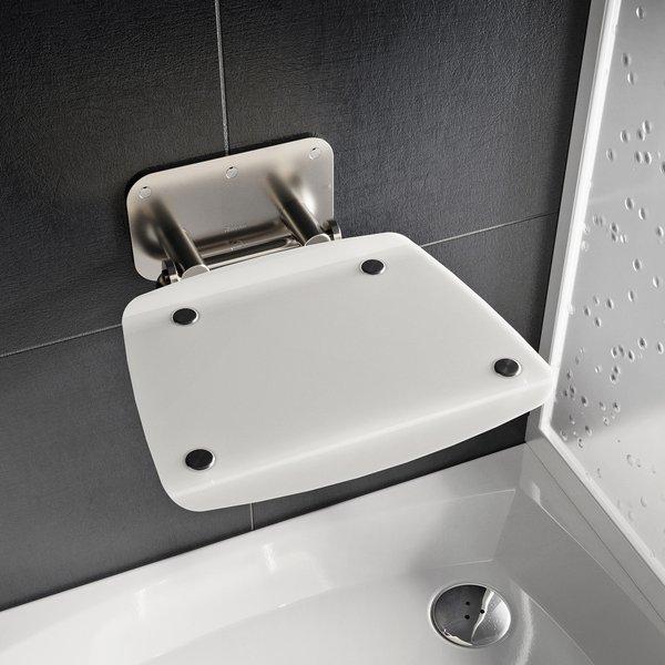 RAVAK OVO-B II sedátko do sprchy sklopné OPAL/nerez, B8F0000052