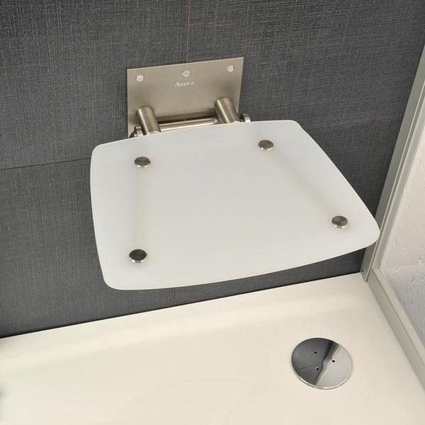 RAVAK OVO-B-OPAL sedátko do sprchy sklopné farba priesvitná biela