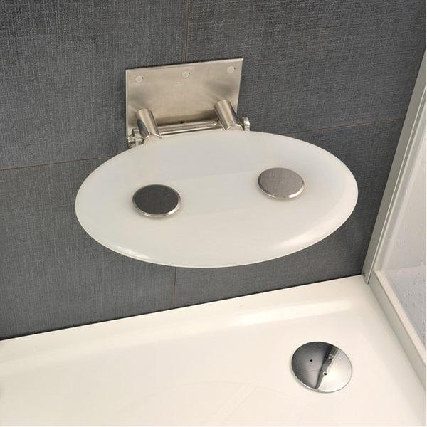 RAVAK OVO-P-OPAL sedátko do sprchy sklopné farba priesvitná biela
