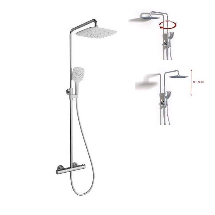 RAVAK sprchový stĺp TE 093.00/150 Termo 300  flexibilný s termostatom  a sprchovým setom chróm/biela X070099
