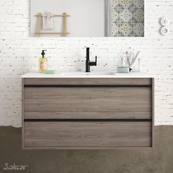 SALGAR Attila - umývadlová skrinka + keramické umývadlo Constanza 101 x 46cm, dub eternity, 85215
