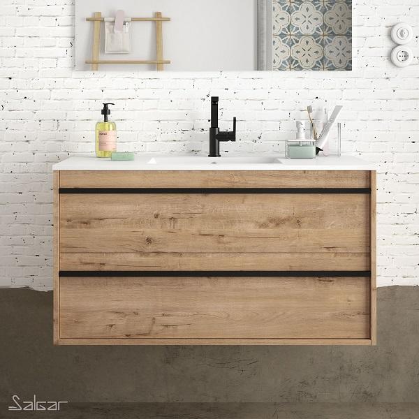 SALGAR Attila - umývadlová skrinka + keramické umývadlo Constanza 101 x 46cm, dub ostippo, 85219