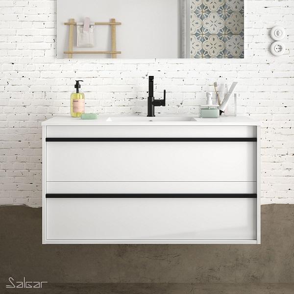 SALGAR Attila - umývadlová skrinka + keramické umývadlo Constanza 101 x 46cm, lesklá biela, 85217