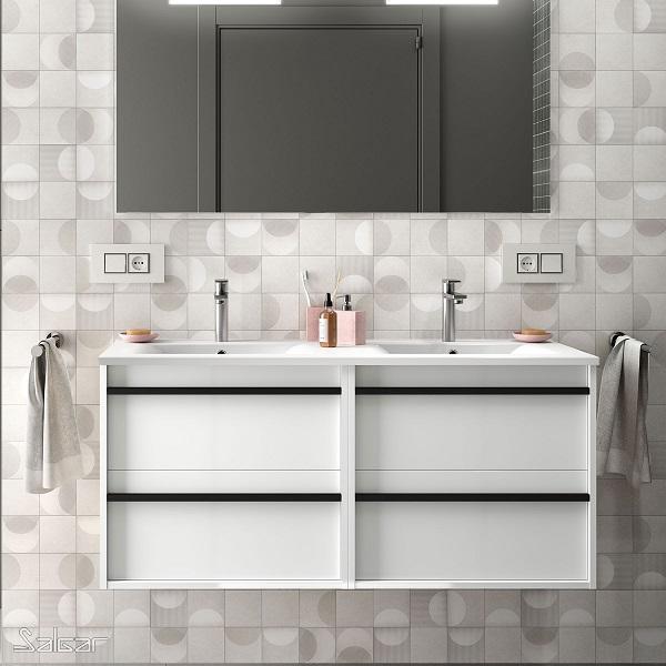 SALGAR Attila - umývadlová skrinka + keramické umývadlo Constanza 121 x 46cm, biela lesklá, 85223