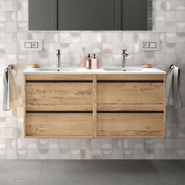 SALGAR Attila - umývadlová skrinka + keramické umývadlo Constanza 121 x 46cm, dub ostippo, 85225