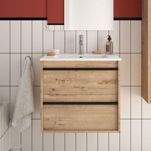 SALGAR Attila - umývadlová skrinka + keramické umývadlo Constanza 61 x 46cm, dub ostippo, 85207