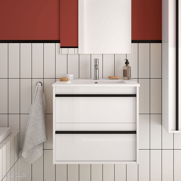 SALGAR Attila - umývadlová skrinka + keramické umývadlo Constanza 61 x 46cm, lesklá biela, 85205