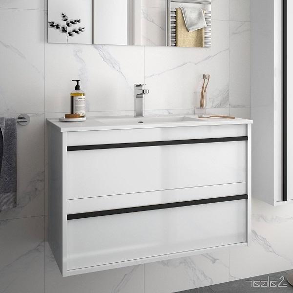 SALGAR Attila - umývadlová skrinka + keramické umývadlo Constanza 81 x 46cm, lesklá biela, 85211