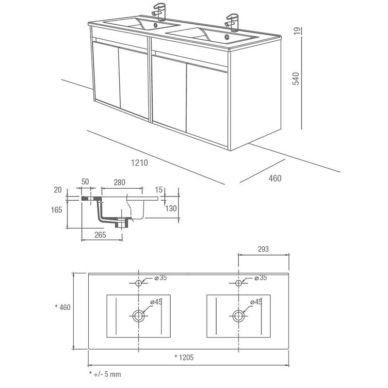 SALGAR Noja skrinka s 2-umývadlom 120 4-dverová dub kaledónia